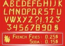 Pommes-Fritesalphabet Lizenzfreie Stockfotos