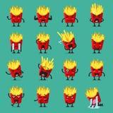 Pommes-Fritescharakter emoji Satz Lizenzfreie Stockfotografie