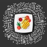 Pommes-Fritesikone auf weißer Platte mit Tomaten, Grüns Pommes-Fritesvektor-Illustration, Karikatur Ikone von den Franzosen gebra stock abbildung
