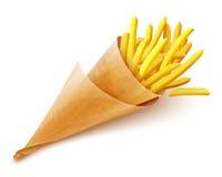 Pommes fritespotatisar i pappers- påse Fotografering för Bildbyråer