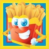 Pommes fritestecknad film som grinar med ramen Royaltyfri Bild