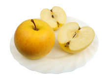 Pommes jaunes, d'isolement Images libres de droits
