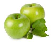 Pommes mûres lumineuses avec des lames Photos libres de droits