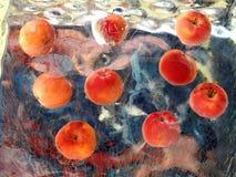 Pommes mûres rouges en glace Photographie stock libre de droits