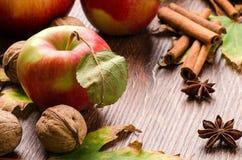 Pommes, noix et épices sur la table Image libre de droits