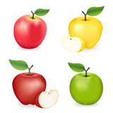 Pommes, rose, mamie Smith, rouge et golden delicious Photo stock