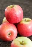 Pommes rouges avec le fond de brun foncé Photo stock