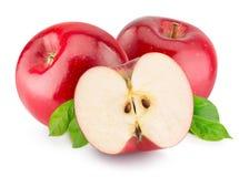 Pommes rouges d'isolement sur le fond blanc Photo stock