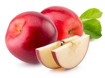Pommes rouges d'isolement sur le fond blanc Image libre de droits