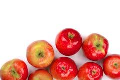 Pommes rouges d'isolement sur le fond blanc avec l'espace de copie pour votre texte, vue supérieure Modèle plat de configuration Photographie stock
