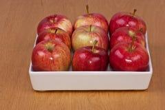 Pommes rouges dans la cuvette blanche Photographie stock