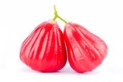 Pommes rouges de pomme rose ou d'eau sur la nourriture saine de fruit de pomme rose de fond blanc d'isolement Image stock