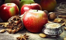 Pommes rouges et vertes fraîches, bâtons de cannelle, cannelle moulue Photo libre de droits
