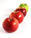Pommes rouges et vertes fraîches diagonalement sur le blanc Photo stock