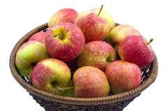 Pommes rouges humides fraîches dans le panier Photos stock