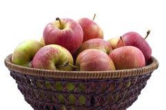 Pommes rouges humides fraîches dans le panier Photo libre de droits