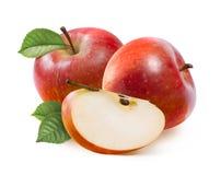 Pommes rouges Jonathan et tranche quarte d'isolement sur le blanc Photographie stock libre de droits