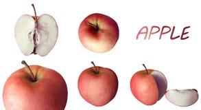 Pommes rouges juteuses avec le titre images stock