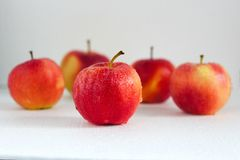 Pommes rouges mûres avec des baisses sur le fond blanc Image libre de droits