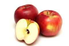 Pommes rouges sur le fond blanc Images stock