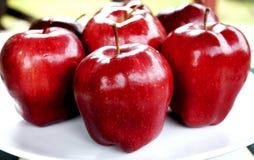 Pommes rouges sur le plat blanc photos stock