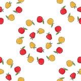 Pommes rouges, vecteur jaune Fond sans couture de modèle avec les pommes colorées Pommes mûres Photos libres de droits