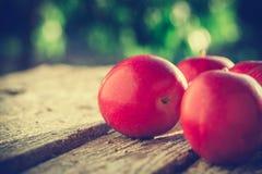 Pommes sur la table en bois au-dessus du fond d'été Photo libre de droits