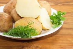Pommes vapeur en leurs peaux et herbes sur le plan rapproché de plat Images libres de droits