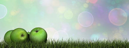 Pommes vertes - 3D rendent Photos libres de droits