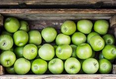 Pommes vertes dans la boîte en bois Images libres de droits