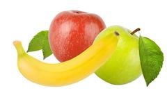 Pommes vertes et rouges avec des feuilles d'isolement sur le fond blanc image libre de droits