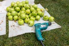 Pommes vertes et un tournevis images stock