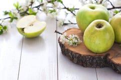 Pommes vertes fraîches avec des fleurs Images stock