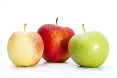 Pommes vertes, jaunes et rouges fraîches sur le blanc Images stock