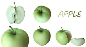 Pommes vertes juteuses avec le titre Photographie stock
