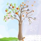 Pommier abstrait comme symbole des modifications saisonnières Image libre de droits