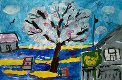 Pommier dans un village peint par l'enfant image stock