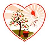 Pommier et cerf-volant Au coeur Photo libre de droits
