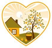 Pommier et maison Au coeur Image libre de droits