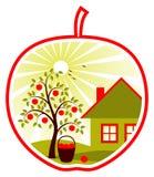 Pommier et maison Dans la pomme Image libre de droits