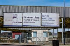 Pomnik, przejście graniczne Helmstedt-Marienborn poprzedni GDR granicy Zdjęcie Stock