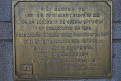 Pomnik WW1 Morska bitwa Coronel Obrazy Stock
