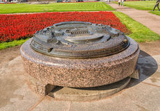 Pomnika znak mierzeja Vasilievsky wyspa przy Starym giełda papierów wartościowych kwadratem Obraz Stock