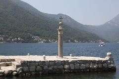 Pomnika znak Montenegro na miejscu, dokąd ikona Nasz dama znajdował na Nasz damie skały Obrazy Stock