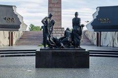 Pomnikowi «Bohaterscy obrońcy Leningrad «na zwycięstwo kwadracie - zabytek wyczyn mieszkanowie w tragicznych dniach oblężenie obraz royalty free