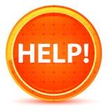 Pomoc! Naturalny Pomarańczowy Round guzik ilustracja wektor