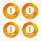 Pomoc punktu znaka ikona Ewidencyjny symbol Zdjęcia Stock