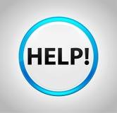 Pomoc! Round pchnięcia Błękitny guzik ilustracja wektor
