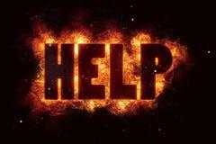 Pomoc teksta sos pożarniczy płomienie płoną oparzenie palenie wybuchają ilustracja wektor