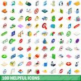 100 pomocniczo ikon ustawiających, isometric 3d styl royalty ilustracja